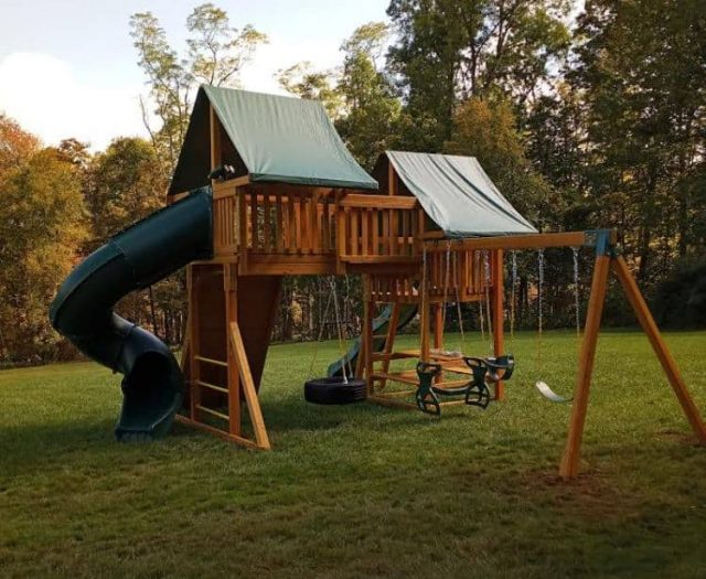 Fantasy Jungle Gym with Spiral Slide, Horse Glider, and Tire Swing