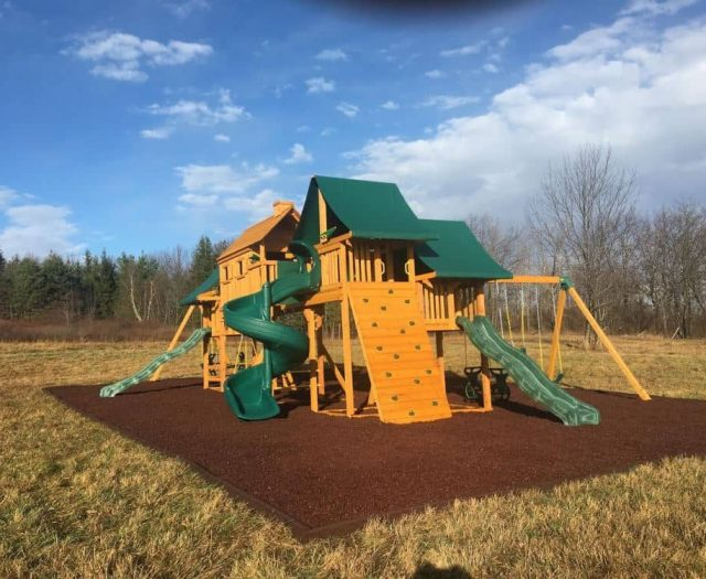 Imagination Swing Set with Open Spiral Slide, Telescope, and Rock Wall