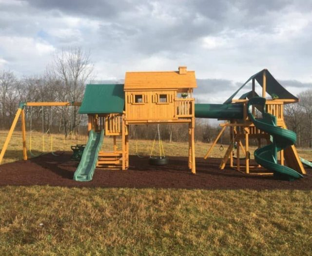 Imagination Swing Set with Red Rubber Mulch, Crawl Tube, and Clubhouse