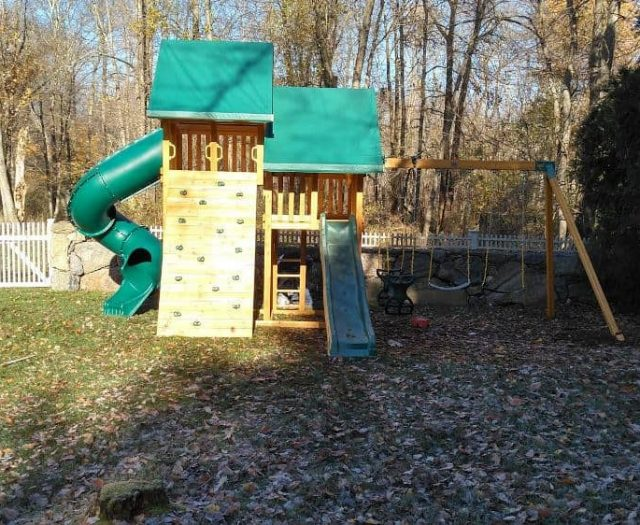 Sky Swing Set with Rock Wall, Slide, and Ladder