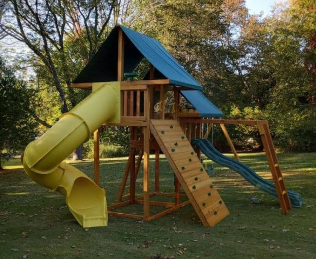 Sky Swing Set with Spiral Slide, Rock Wall, and Monkey Bars