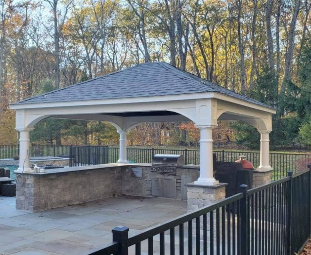 Traditional Backyard Pavilion in White Vinyl with Gray Shingles