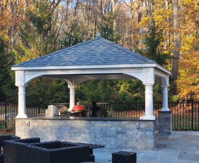 Traditional Vinyl Pavilion on Outdoor Kitchen