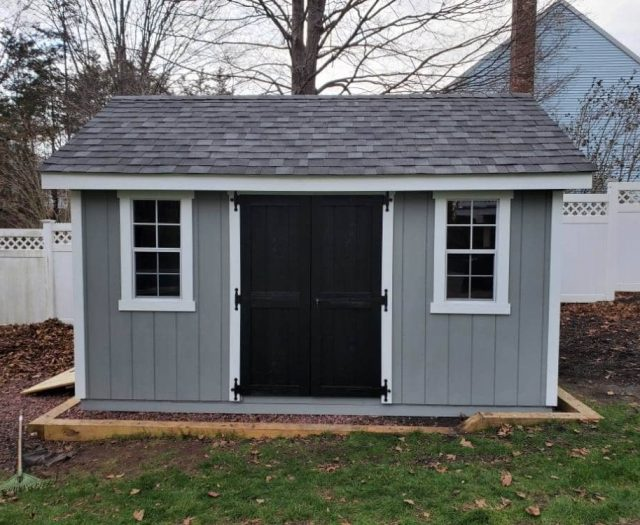 A- Frame Shed with Gray T-111 Siding, Black Double Doors, and White Trim