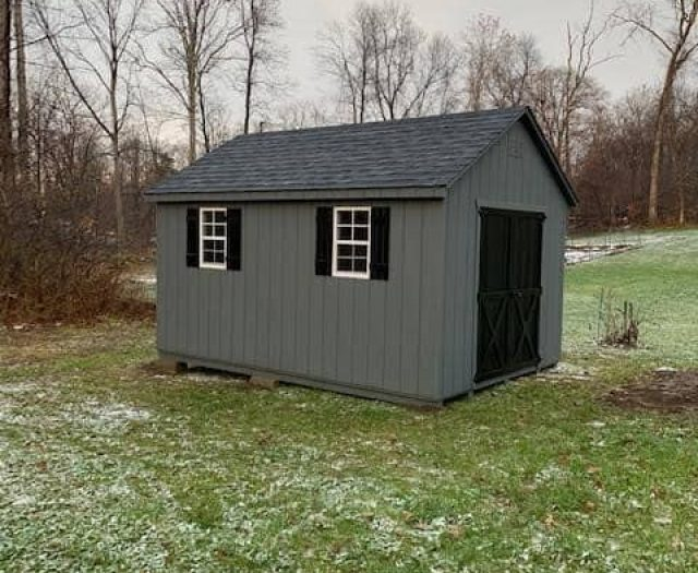 A- Frame Storage Shed with Dark Grey T-111 Siding, Black Shutters, and Double Door