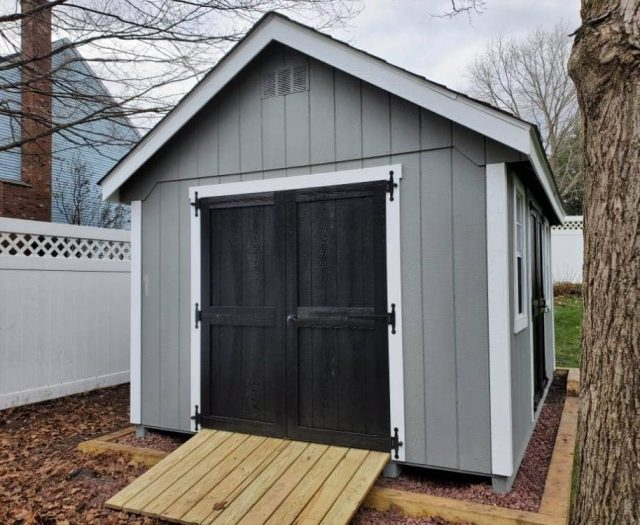 A- Frame Storage Shed with Gray T-111 Siding, PT Ramp, and White Trim