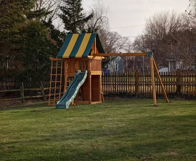 Dream Jungle Gym with Green Slide, Ladder, and Sling Swings