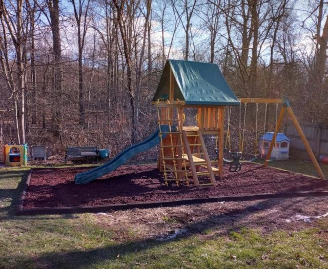 Dream Playground with Red Rubber Mulch, Horse Glider and Binoculars