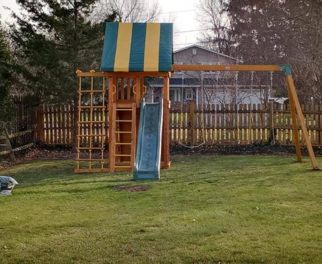 Dream Swing Set with Jacob's Ladder, Green Slide, and Striped Tent
