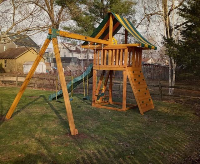 Dream Swing Set with Sling Swing, Ships Wheel and Rock Wall