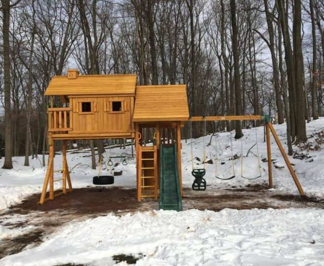 Fantasy Tree House Swing Set with Snow, Wood Roof, and Tire Swing