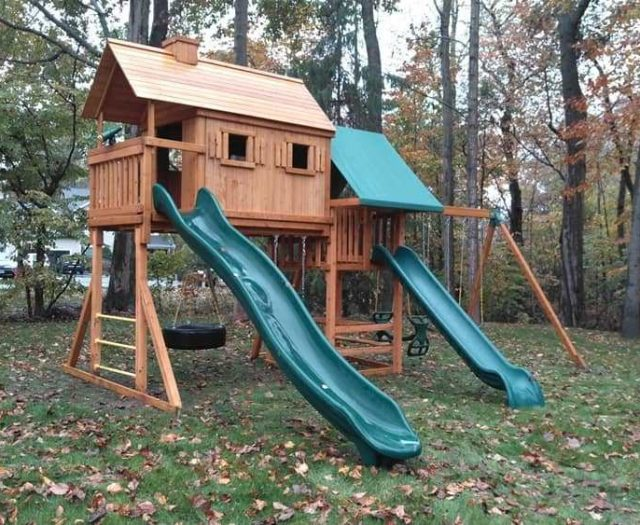 On Site- Sky Tree House Playground with Wave Slide, Tire Swing, and Clubhouse