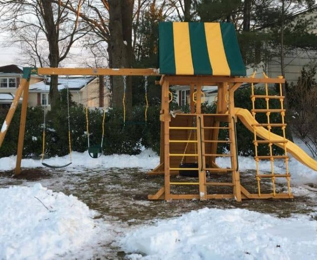 Supreme Swing Set Winter with Tire Swing, Slide, and Ladder