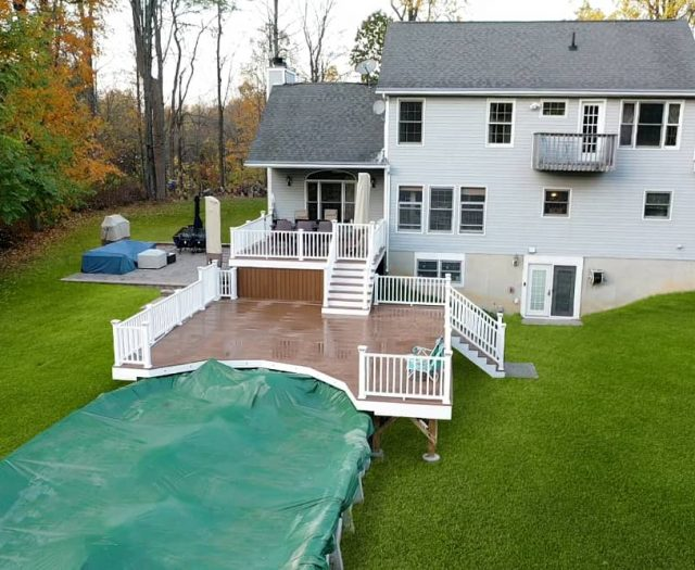 Composite Deck and Stone Patio