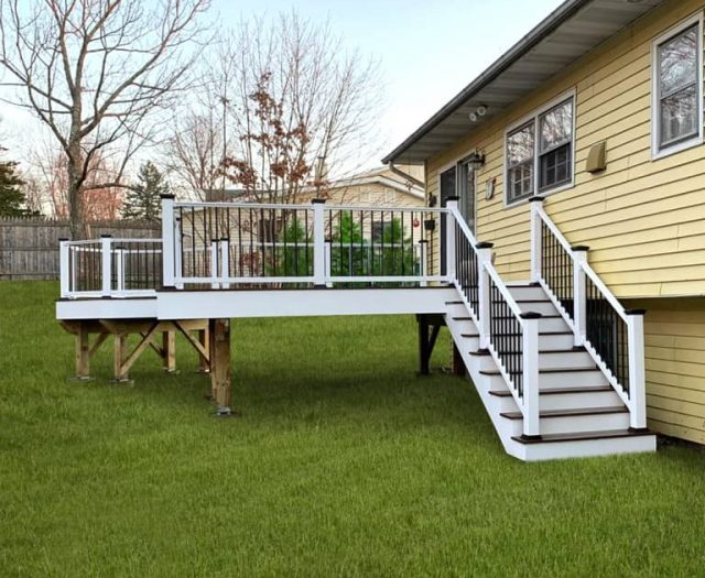 new composite deck with white railings
