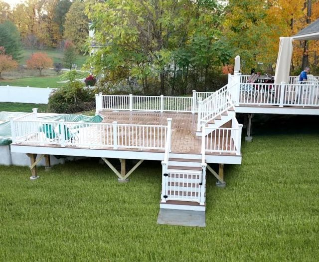 Two Story Composite Deck with Gated Stairs