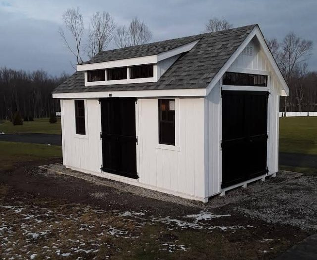 A-Frame Shed with White T-111 Siding, Shutterless Windows, and Black Side Doors