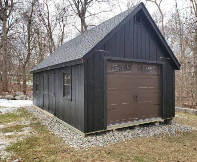 A-Frame Singe Car Storage Shed Garage with Black T-111 Siding and Black Shingles