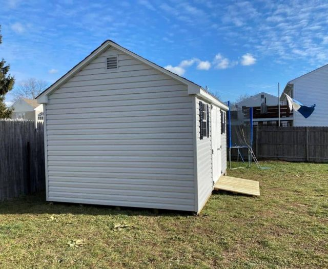 A- Frame Storage Shed with Gray Vinyl Siding, Vent, and PT Ramp