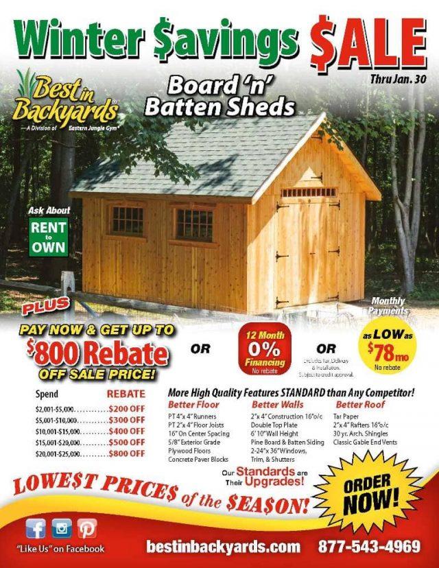 Board n Batten Storage Sheds Sale