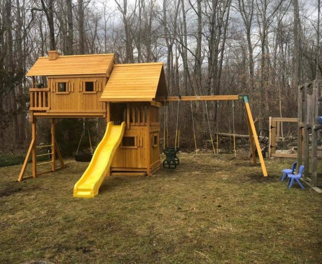 Fantasy Tree House Jungle Gym with Horse Glider Swing, Sling Swing, and Club House