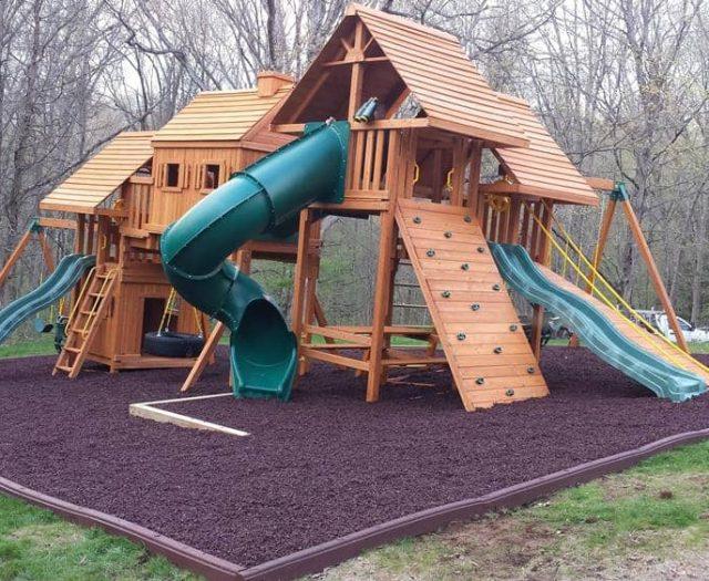 Imagination Jungle Gym with Spiral Slide, Wave Slide, and Wooden Roof