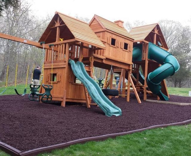 Imagination Swing Set with Red Rubber Mulch, Monkey Bars, and Bottom Clubhouse