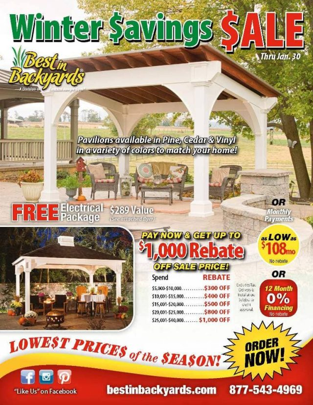 Pavilions in Wood and Vinyl Sale