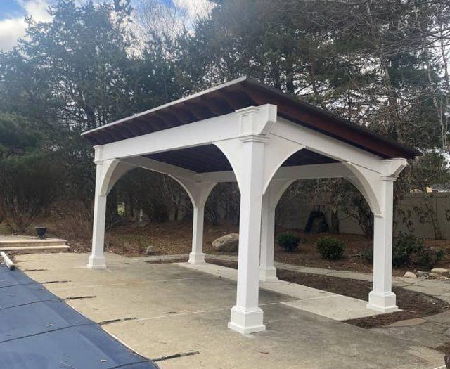 Sante Fe Pavilion in White Vinyl Poolside