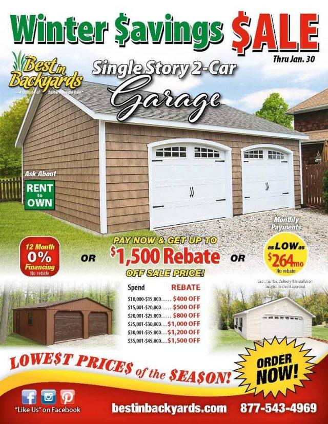 Single Story Two Car Garage Sale