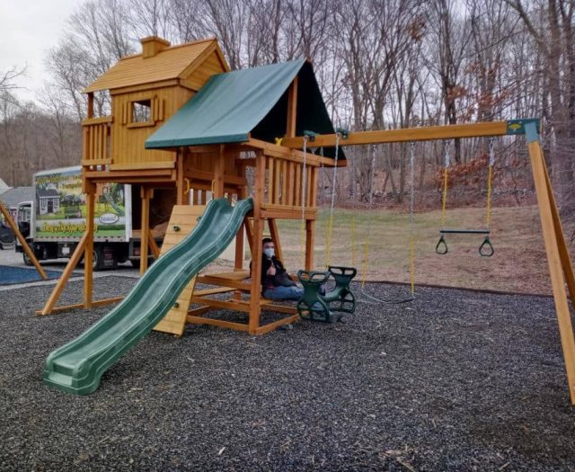 Sky Tree House Jungle Gym with Black Mulch, Horse Glider, and Ring Trapeze Bar