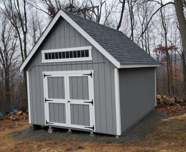 A-Frame Storage Shed with Blue T-111 Siding, White Trim, and Window
