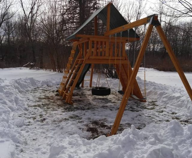 Supreme Swing Set with Tire Swing, Tent Top, and Snow Installation