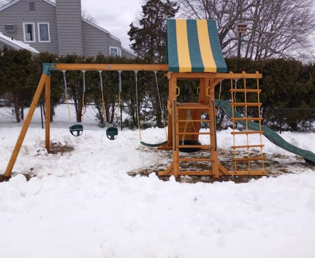 Supremescape Swing Set with Baby Swing, Ladder, and Slide Winter Install
