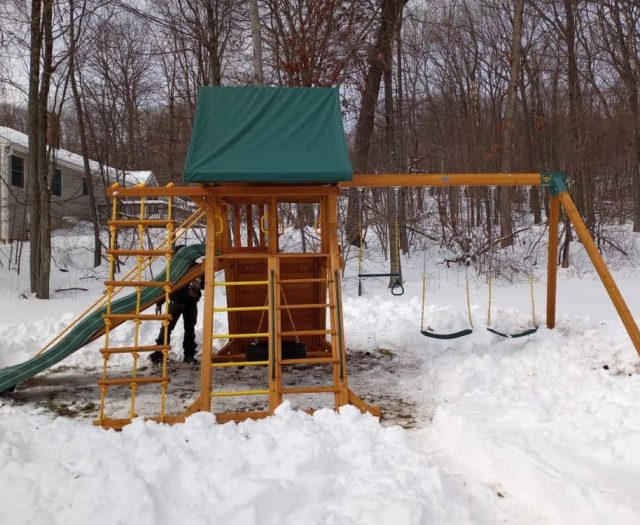 Supremescape with Jacob's Ladder, Slide, and Tire Swing Winter Installation