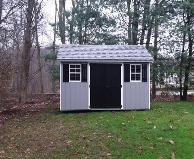 A-Frame Shed with Blue T-111 Siding, Black Double Doors and Black Shutters