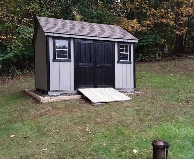 A-Frame Shed with Gray T-111 Siding, Black Double Doors, and Trim