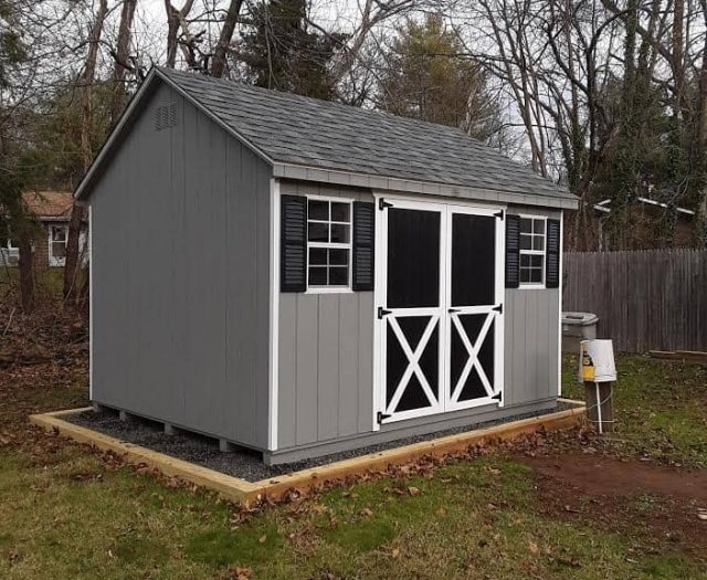 A-Frame Shed with Gray T-111 Siding, Black Double Doors and White Trim