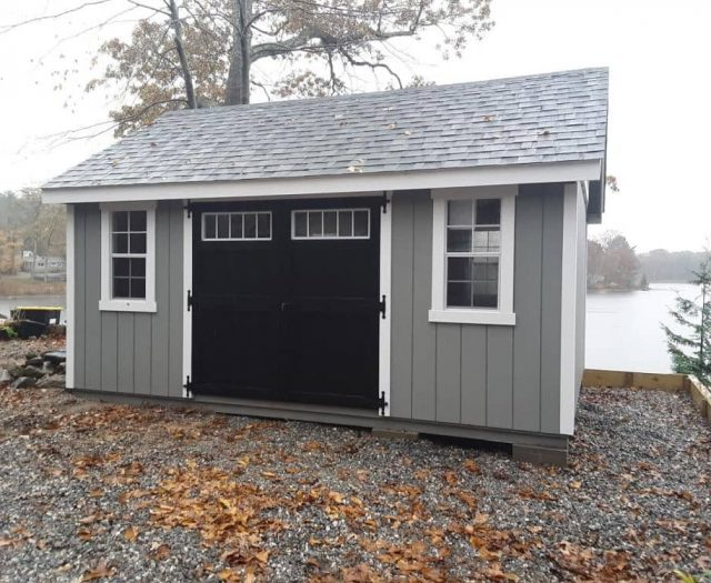 A-Frame Shed with Gray T-111 Siding, Black Windowed Double Doors, and White Trim