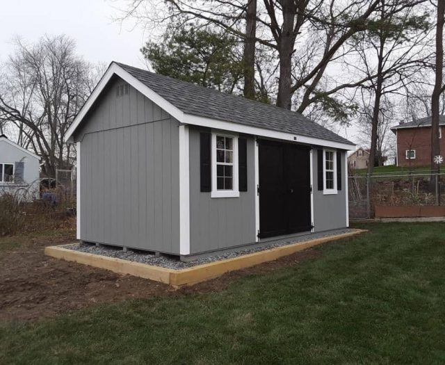 A-Frame Shed with Gray T-111 Siding, White Trim, and Black Double Doors