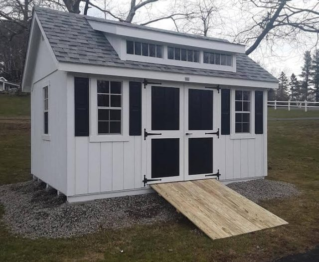 A-Frame Shed with White T-11 Siding, Black Double Doors, and Black Shutters