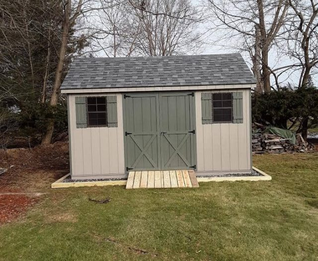 A-Frame Storage Shed with Beige T-111 Siding, Green Double Doors and Army Green Shutters