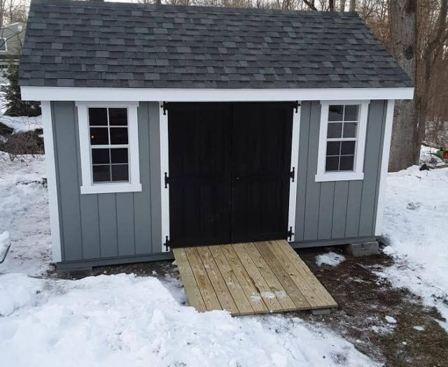 A-Frame Storage Shed with Blue T-111 Siding, Black Double Door, adnd PT Ramp