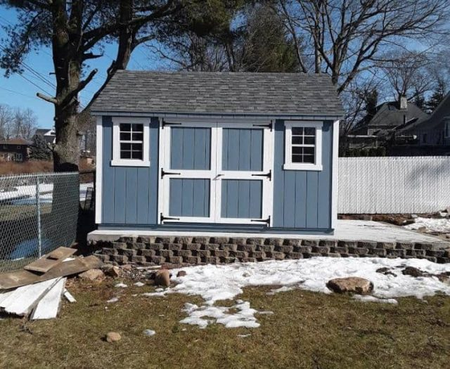A-Frame Storage Shed with Blue T-111 Siding, White Trim, and Double Door