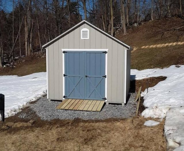 A-Frame Storage Shed with Gray T-111 Siding, Dark Blue Double Doors, and White Trim