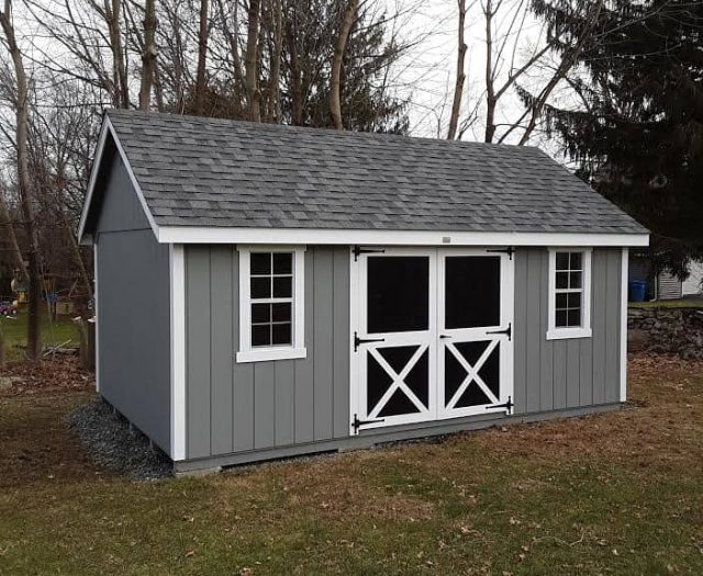 A-Frame Storage Shed with Gray T-111 Siding, White Trim, and Black Doors
