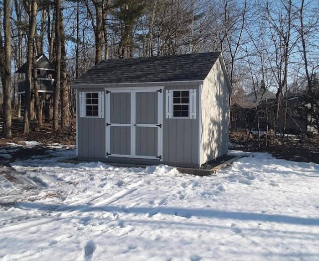 A-Frame Storage Shed with Gray T-111 Siding, White Trim and White Shutters