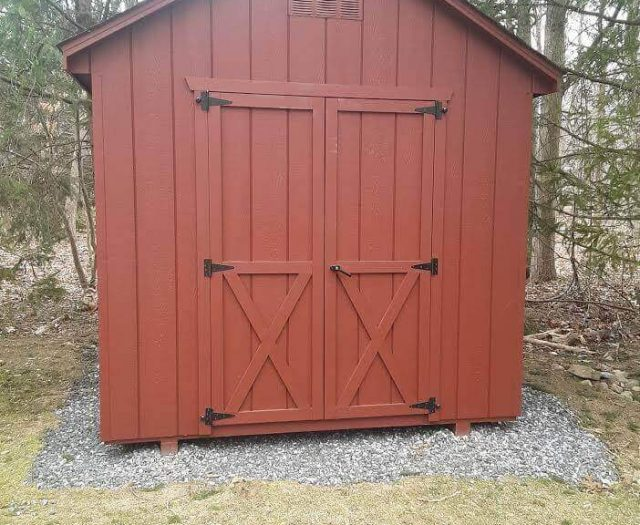A-Frame Storage Shed with Red T-111 Siding, Trim, and Double Door