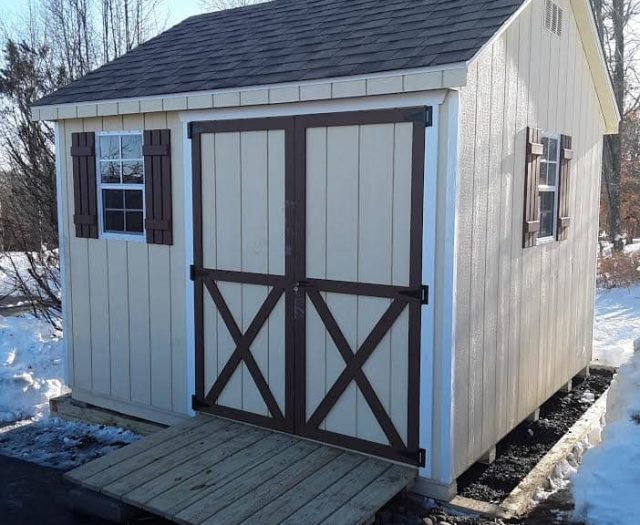 A-Frame Storage Shed with T-111 Siding, Red Trim, and Double Door