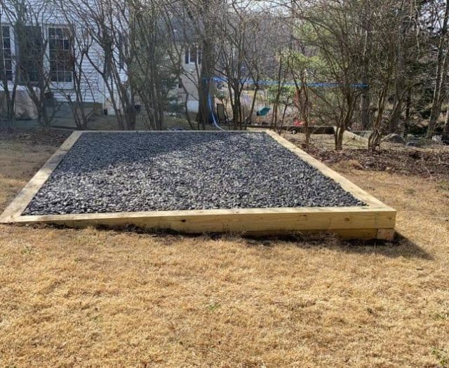 Best in Backyards Gradient Gravel Pad for Shed